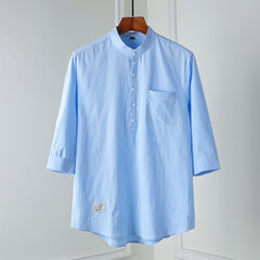 Mens Cotton Breathable Pure Color Summer Three Quarter Sleeve Casual Henley Shirts