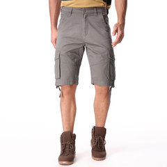 Mens Casual Baumwollmischung Große Multi-Pocket Military Solid Color Cargo Shorts