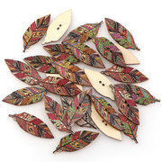 50 Pcs Retro Style Leaves Shaped Wooden Buttons Washable Sewing Buttons DIY Decor Handcraft Supplies