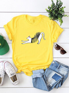 Women Cat Printed Short Sleeve Cute Cotton T-shirt