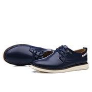 Homens Comfy Respirável Pure Color Lace Up Sapatos Casuais De Couro