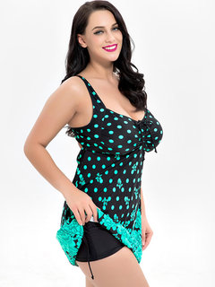 Plus Size Imprimir Polka Dot Drawstring Backless Barriga Swimdresses Para Mulheres