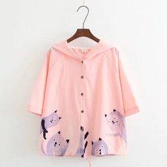 Повседневная свободная рубашка из хлопка и льна с коротким рукавом