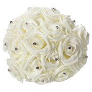11.8'' Crystal Bridal Bridesmaid Bouquet Foam Flower Roses Wedding Posy