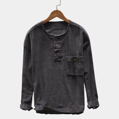 Mens Corduroy Vintage Thick Loose Long Sleeve Crew Neck Casual T shirt