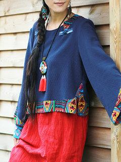 Camicette da donna scollo a manica lunga patchwork vintage stampate