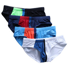 Men Striped Color Block Swimwear Sexy Front Pad Quick Dry Drawstring Swim Trunks
