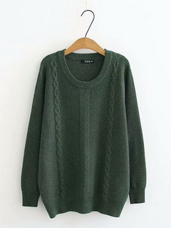 Casual Twisted Crew Neck Sweater for Women