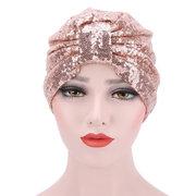 Mujer Colorful Gorra de cobertura de lentejuelas brillantes Tiro de calle transpirable Skullies Gorros Cabeza Sombrero