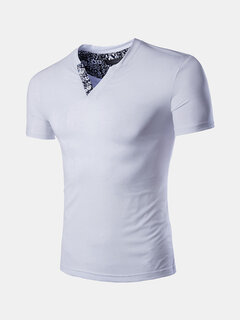 Mens Printed Collar Slim Fit Summer Breathable Casual T Shirts