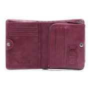 Trifold Women Genuine Leather Oil Wax Solid Wallet 13 Card Slot Coin Purse
