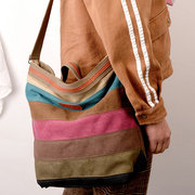 Women Canvas Contrast Color Striped Shoulder Bags Leisure Crossbody Bags Large Capacity Handbags