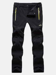 Mens Outdoor Soft Shell Water-repellent Quick-Dry Stitching Dark Color Sport Pants