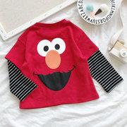 Magliette a maniche lunghe a manica lunga Collo per ragazza con stampa di disegni per bambini per 1Y-11Y