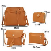 4PCS PU Leather Pure Color Crossbody Bag Clutch Wallet Card Holder