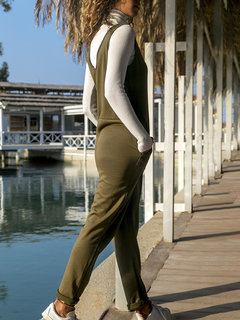 Casual Sleeveless Solid Color Jumpsuit For Women