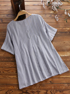 Casual Striped Pleated Button Short Sleeve Shirt