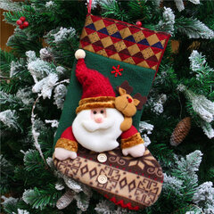 Traditional Christmas Stocking Socks Candy Boxes Santa Snowman Elk Tree Decoration