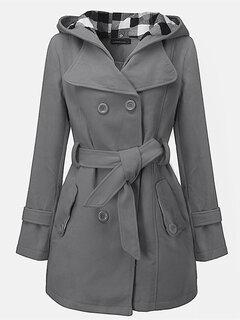 المرأة مقنعين معطف سترة طويلة الأكمام الشتاء الدافئ جيب أبلى