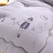 3Kg Washed Cotton Quilt Duvet Cover Feather Velvet Solid Bedding Cover for Queen King Size