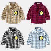 Мальчики Рубашка с длинным рукавом плед мультфильм моды комфорт отворот Рубашка