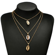 Bohemian Multi-layer Geometric Shell Necklace Conch Inlaid Gold Side Alloy Necklace