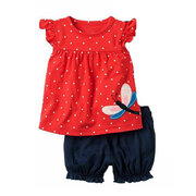 2Pcs Butterfly Girls Short Set T Shirt + Short Pants For 0-24M