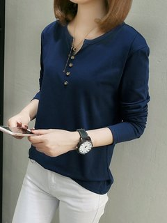 Women's T Shirt Plus Size Long Sleeve Solid Top