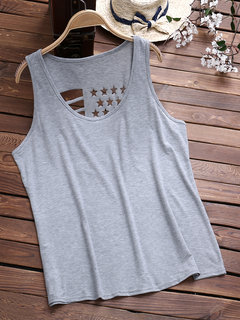 Backless Hollow Pure Color Tank Top for Women