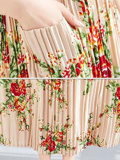 Винтаж Версия для печати плиссированные без рукавов Платье для Женское