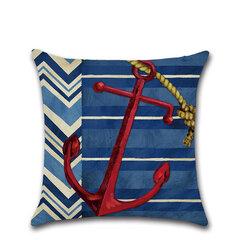 vendimia Ancla náutica Timón Patrón Funda de cojín de algodón de lino Sofá para el hogar Decoración de arte