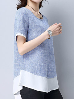 Women Short Sleeve Fake Two Pieces Cotton T-shirts
