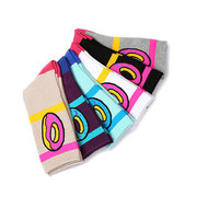 Women Patchwork Cotton Doughnut Pattern Middle Tube Socks Breathable Deodorization Warm Elastic Sock