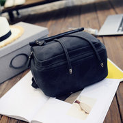 Simple Pure Color Faux Leather Backpack Shouder Bag For Women