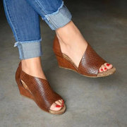 Large Size Women Breathable Open Side Cut-outs Slip On Wedges Sandals