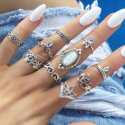 Retro Style Carved Gemstone Rings 10 Piece Sliver Alloy Rings Kit Women's Joint Rings