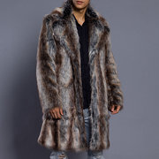 Mens Slim Fit Faux Fur Trench Coat Mid Long Winter Warm Casual Jacket