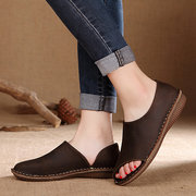 Socofy Hollow Out Breathable Leather Peep Toe Flat Loafers