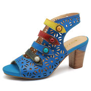 SOCOFY Sooo Comfy Colorful Fibbia Gancio Loop Hollow Peep Toe Vera Pelle Sandali