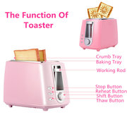 Kitchen 2 Slices Stainless Wide Slot Plastic Toaster With Crumb Tray Bread Bagel