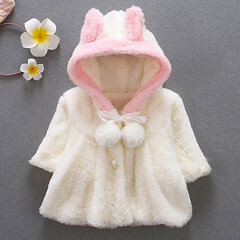 Cute Baby Infant Girls Fur Winter Warm Coat Cloak Jacket Thick Hooded Clothes For 6-36M