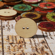 100 PCS Vintage Wooden Round Shape Buttons Washable Sewing Clothing Handmade DIY Crafts