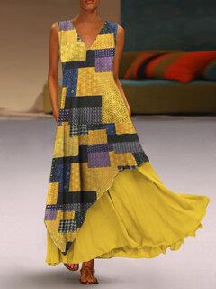 طباعة المرقعة الطبقات أكمام فستان ماكسي