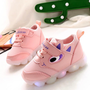 Unisex Kids Cartoon Decor LED Light Hook Loop Lovely Casual Shoes