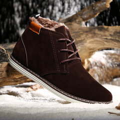Men's British Style Warm Plush Lining Lace Up Casual Ankle Boots
