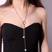Elegant Pearl Pendant Necklace Long Tassel Adjustable Chain Necklace Jewelry for Women