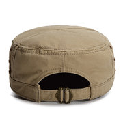 Men Sunshade Breathable Cotton Military Hat Travel Casual Solid Color Flat Cap