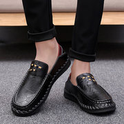 Men Hand Stitching Cow Leather Soft Non-slip Sole Casual Shoes