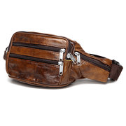 Genuine Leather Waist Bag Vintage Solid Chest Bag Big Capacity Crossbody Bag For Men