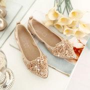 Яйцо ролл плоские туфли неглубокие рот указывая ног обувь с бисером украшения